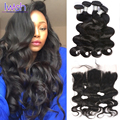 7A Iwish Brazilian Body Wave With Closure 4 Bundles Brazilian Body Wave With Frontal Closure Human Hair Bundles With Frontal