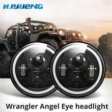 "7 ""LED المصابيح الأمامية 60 واط عالية منخفضة شعاع LED H4 هالو سيارة عيون الملاك DRL العنبر تشغيل أضواء ل جيب رانجلر JK TJ لاند روفر هارلي"