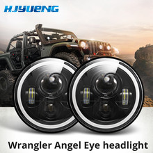 "7""LED Headlights 60W High Low Beam LED H4 Halo Car Angel Eyes DRL Amber Running Lights for Jeep Wrangler JK TJ Land Rover Harley"