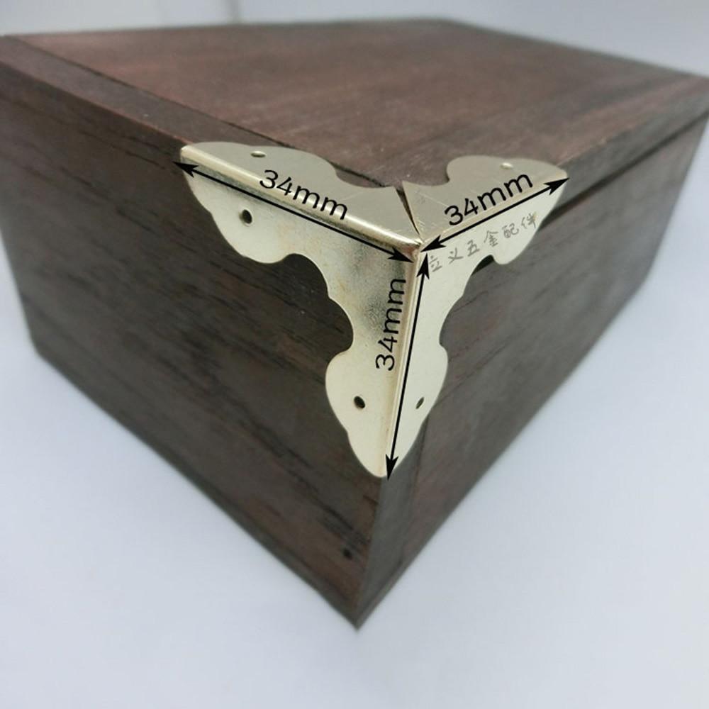 Classic Chinese Style Jewelry Gift Box Corner Protector Metal Wooden Box Corner Cover Hardware Decoration 90 Degree Aluminium