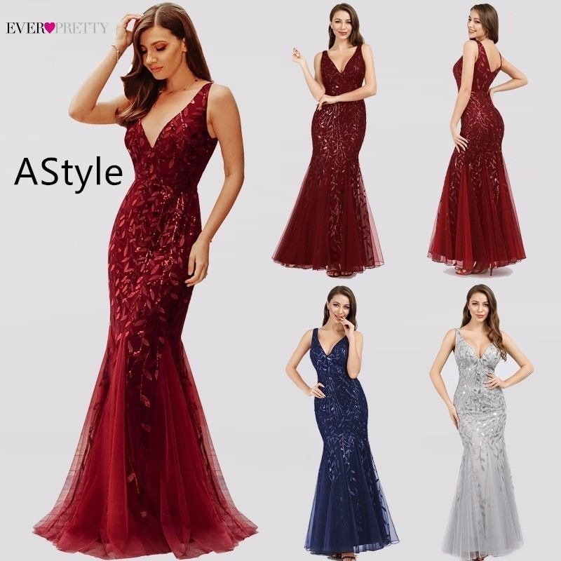 Robe De Soiree Ever Pretty Sexy Mermaid Evening Dresses Long Sparkle Draped Tulle Formal Dresses Elegant