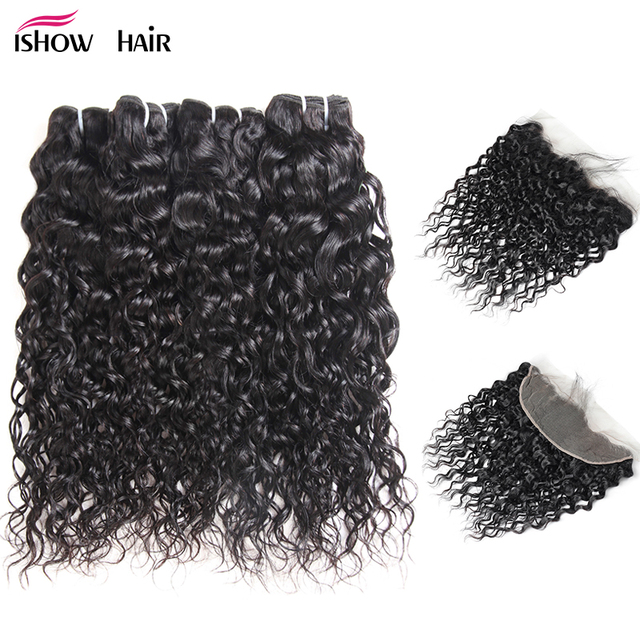 Ishow Brazilian Water Wave Human Hair 4 Bundles With Closure Non Remy Hair Weave Bundles With Lace Frontal Closure Free Part