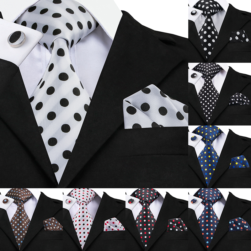 Hi-Tie Designer Polka Dot Ties 100% Silk Neckties For Men 8.5cm Wide Business Wedding Ties Handkerchiefs Cufflinks Set