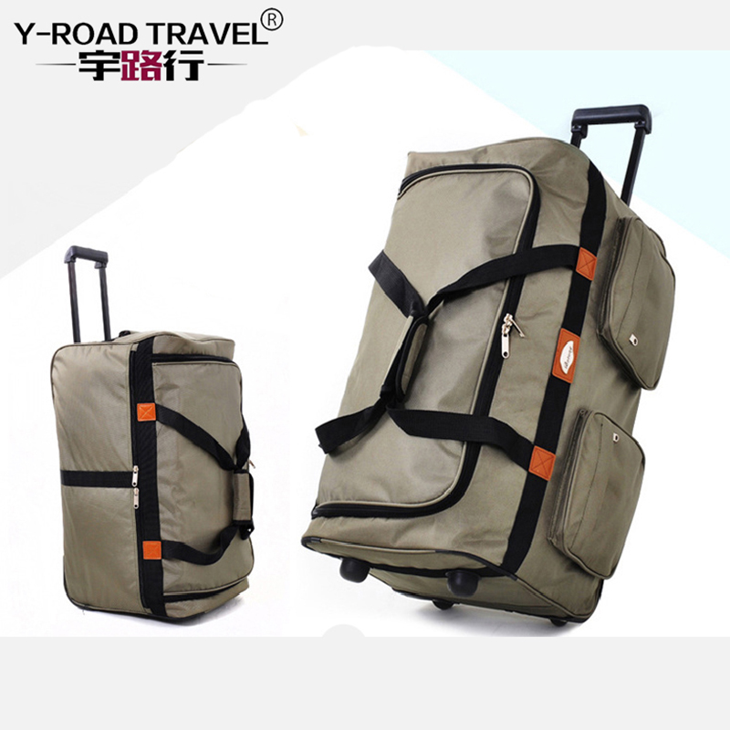 Y-ROAD TRAVEL Large Capacity Waterproof Duffle Trolley Bag Folded Oxford Rolling Suitcase Oxford Trunk Checked Hand Luggage Case oxford borboniqua oxford