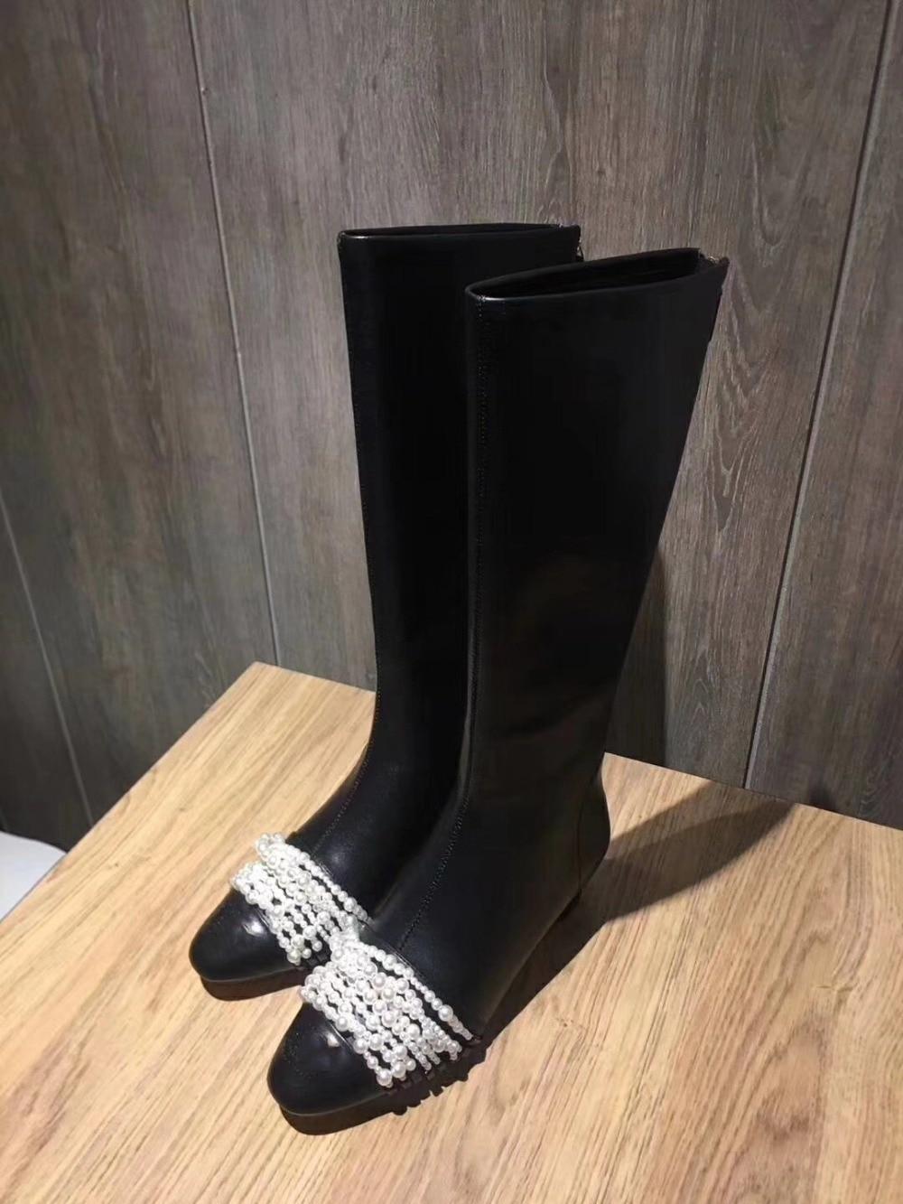 Piste Chevalier Nouvelle Sapato Cuir Longue Chaussons Chaussures As Femmes Pic Chic 2019 Feminino Perle Talons Bottes Décor Marque Funky Étoiles qEd0wZcS