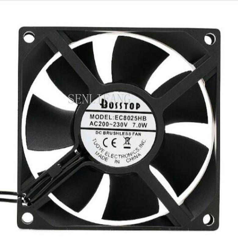 Free Shipping Ac 220V Large Air Volume EC8025HB 8025 7W Double Ball 8CM Exhaust Fan