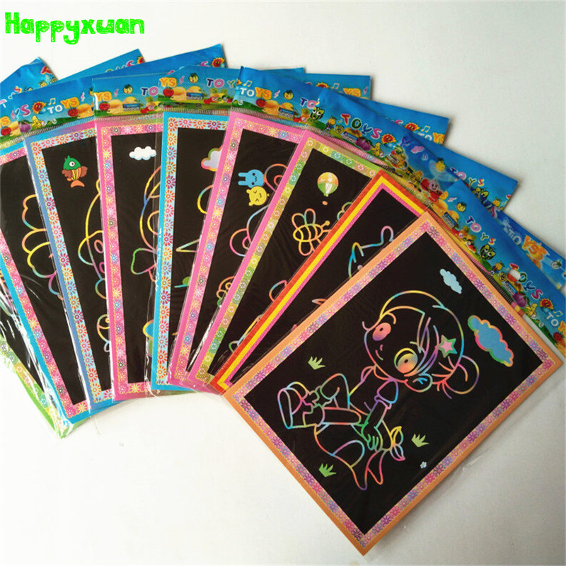 Happyxuan 10pcs/lot 12.5*17.5cm Magic Scraping Drawing Paper Toys Two-in-One Coloring Pictures for Kindergarten Child Painting