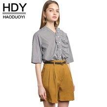 896c90756c3 HDY Haoduoyi Для женщин Полосатые блузки V шеи Половина рукава Ruffled  Кнопка ремень рубашка Повседневное Винтаж расслабленным б.