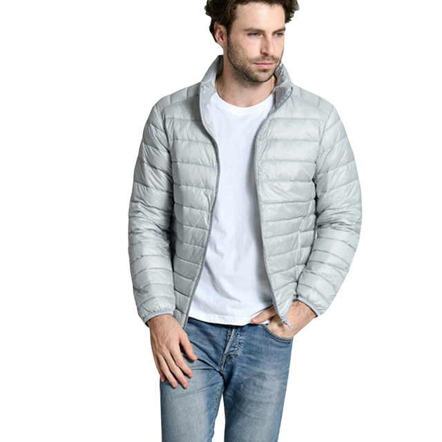 2016 Men Jacket Coat New Arrival Light Thin Down Jackets Male Fashion Casual Solid Autumn Winter Men's Stand Collar Coat
