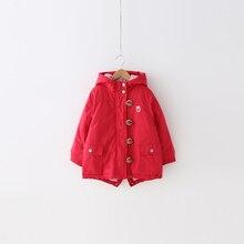 Девушки хлопка-ватник Ян мэй детская одежда зимой 2016 новый клубника рог с капюшоном на молнии без подкладки верхней