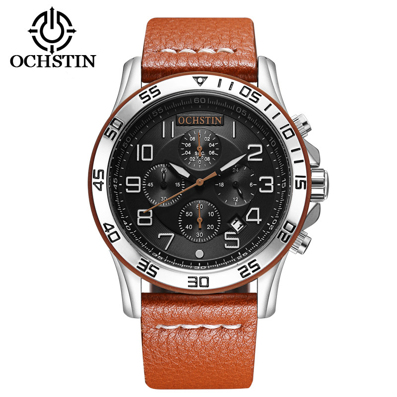 OCHSTIN Original Men Quartz Watch Genuine Leather Business Watches Man Clock Chronograph Military Watch Sport Reloj Hombre Male forex b016 6792