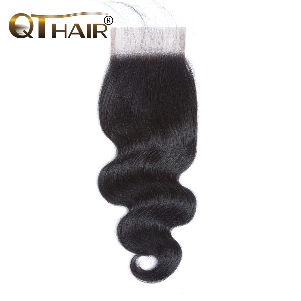 QT Malaysia Body Wave Lace Closure 4x4 Human Hair With Baby Hairs 130 Density Non remy