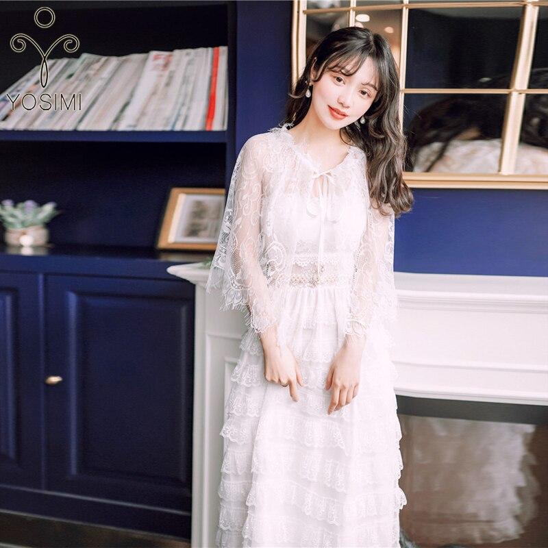 2019 été femmes robe deux pièces ensembles costume dentelle longue femmes robe blanc femmes costume mi-mollet douce fille bretelles robe Midi