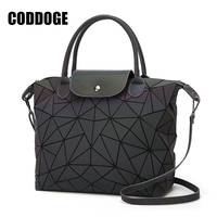 PU Casual Tote Bag Famous Brands Women Bag Geometry Sequins Mirror Laser Plain Folding Bags Luminous