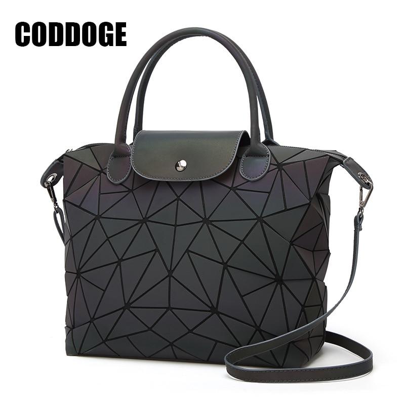 PU Casual Tote Bag Famous Brands Women Bag Geometry Sequins Mirror Laser Plain Folding Bags Luminous Handbags Shoulder Bag