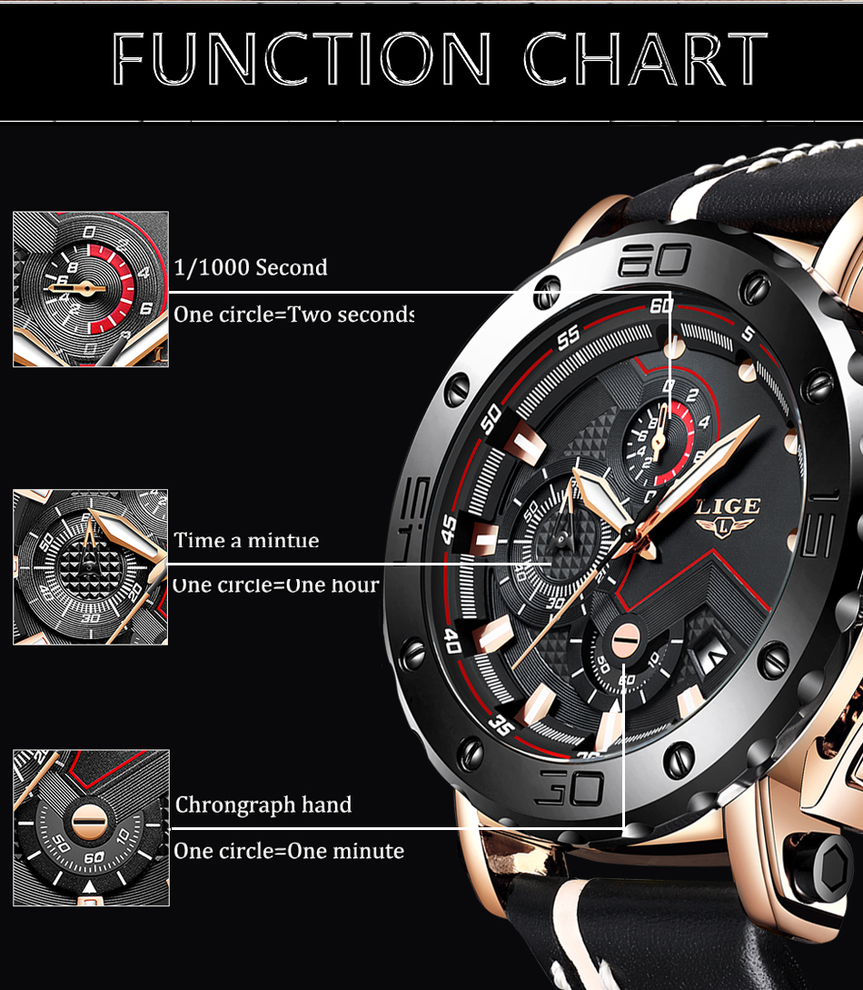 2019LIGE New Fashion Mens Watches Top Brand Luxury Big Dial Military Quartz Watch Leather Waterproof Sport Chronograph Watch Men 8