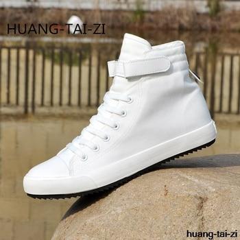 HUANGTAIZI hombres vulcanizar zapatos hombres primavera otoño manera superior zapatillas Lace-up alto estilo colores sólidos zapatos de hombre