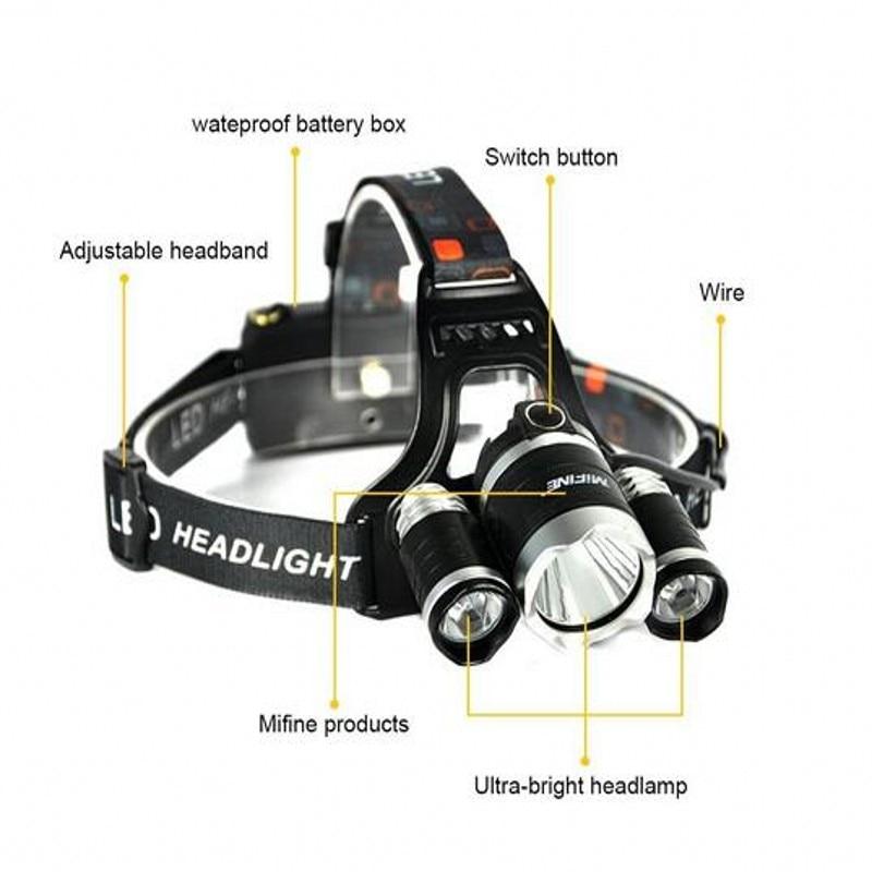 New Headlight XM-L 3XT6 LED Head Light 4 Modes Headlamp Lantern Hunting Bicycle Head Flashlight+Car AC Charger+Battery+USB cable 5
