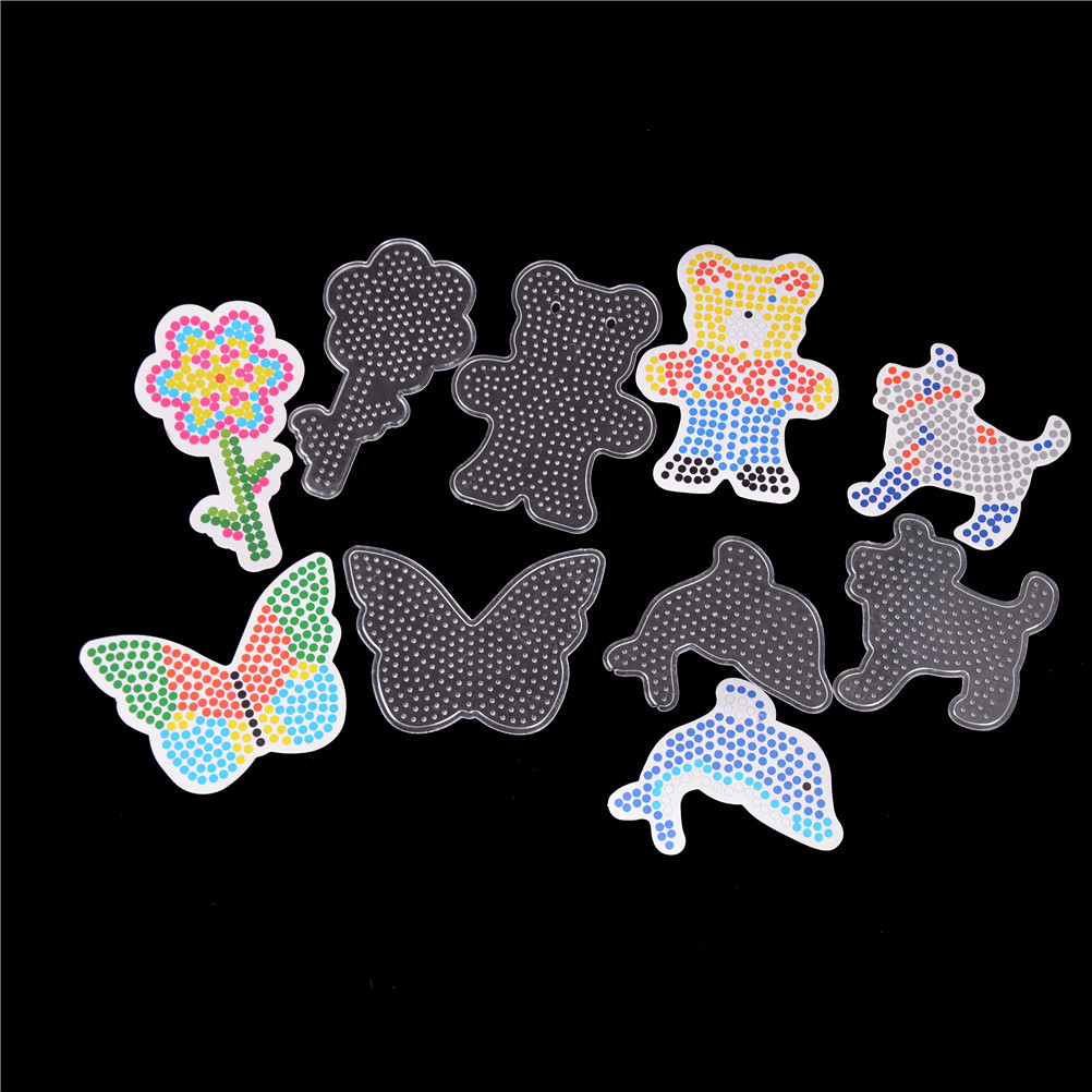 US $2 65 16% OFF|5pcs DIY Craft Plastic Stencil child fuse bead Toys For  Kids Hama Perler Beads Puzzle Pegboards Patterns with colored paper 5mm-in