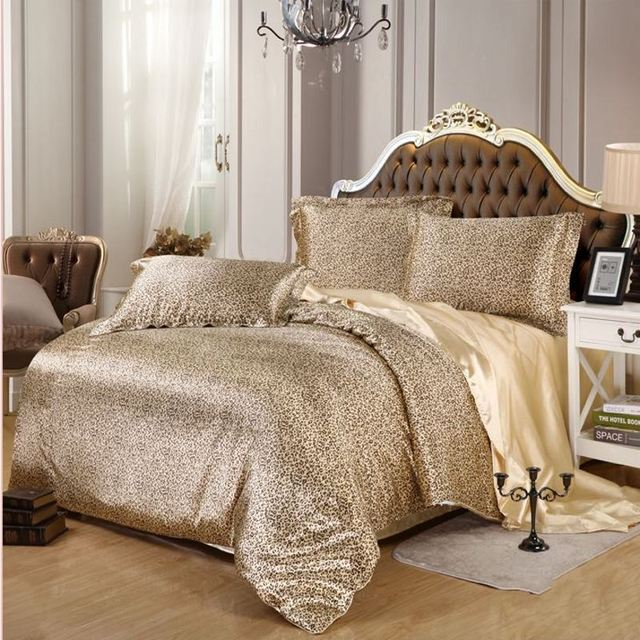 4/6pcs Solid Color Duvet Cover Queen King Size Leopard Imitated Silk Satin  Bedding Set