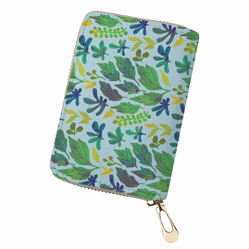 Customized PU Leather greenery maple leaf kaarthouder Cards Holder canta bag women pokemon Card Organizer sac place