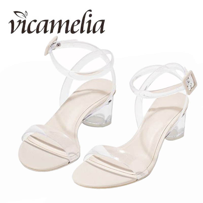 Vicamelia PVC Jelly Heel Sandals Ladies Transparente Clear Classic - Zapatos de mujer - foto 3