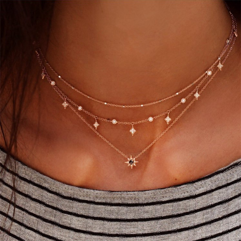 NEWBUY Bohemia Antique Gold Star Pendant Rhinestone Necklaces Multi Layer Chain Choker Necklace Collar For Women Jewelry Gift