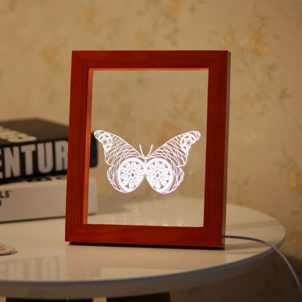 FL-717 3D Photo Frame Illuminative LED Night Light Wooden Butterfly Christmas USB Lamp for In-Outdoor Fairy Decoration Lights