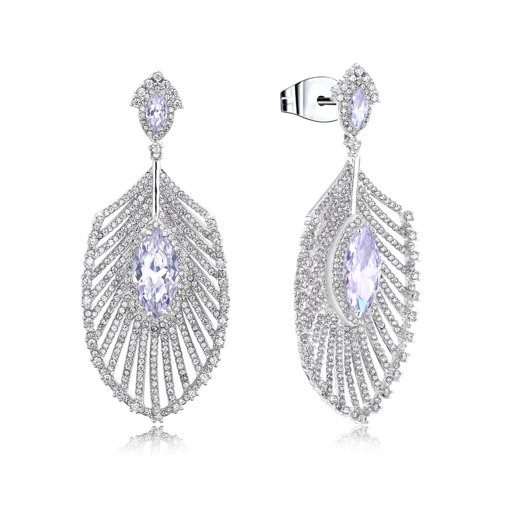 Date grandes femmes boucles d'oreilles de luxe goutte boucle d'oreille blanc or couleur réglage blanc cz boucle d'oreille de mariage bijoux de mode livraison gratuite