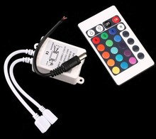цена на 1000pcs wholesales fast post 12V 24 Keys IR Remote Controller for SMD 3528 5050 RGB LED SMD Strip Lights+power cable+box