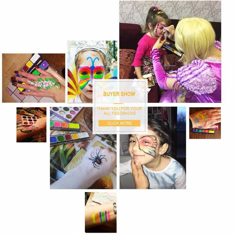 الجسم رسم على الوجه 6 ألوان مجموعة نيون الفلورسنت مع فرشاة ماكياج الصباغ نموذج الطلاء ل هالوين الوشم المؤقت Maquiagem