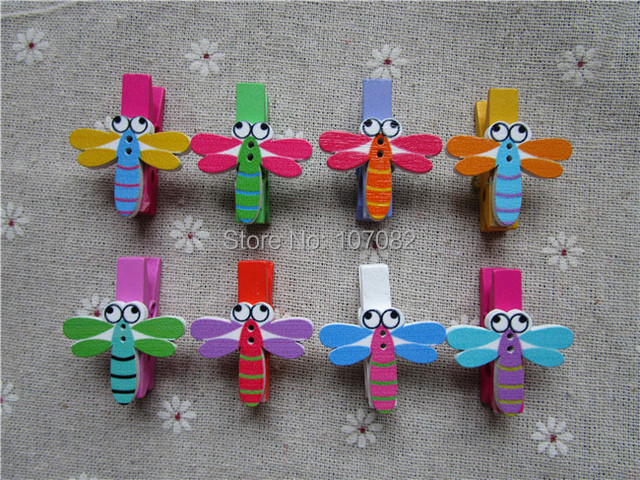 100Pcs Multi Wood Clothespins With Dragonfly Embellishments Photo Paper  Pegs Pins Craft Wedding Decorations Baby Shower