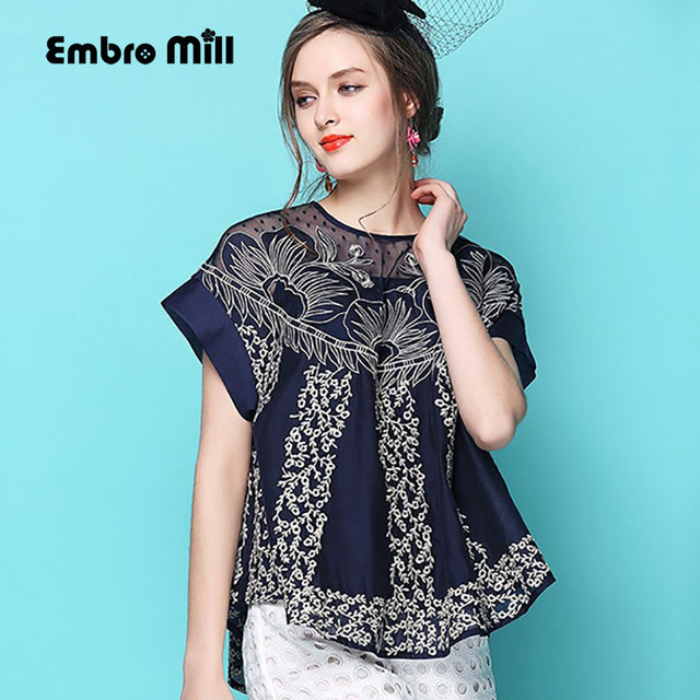 Women blouses spring and summer An exclusive design embroidery hollow out  Net yarn patchwork lace chiffon loose lady top shirt 3ce1a7bbead4