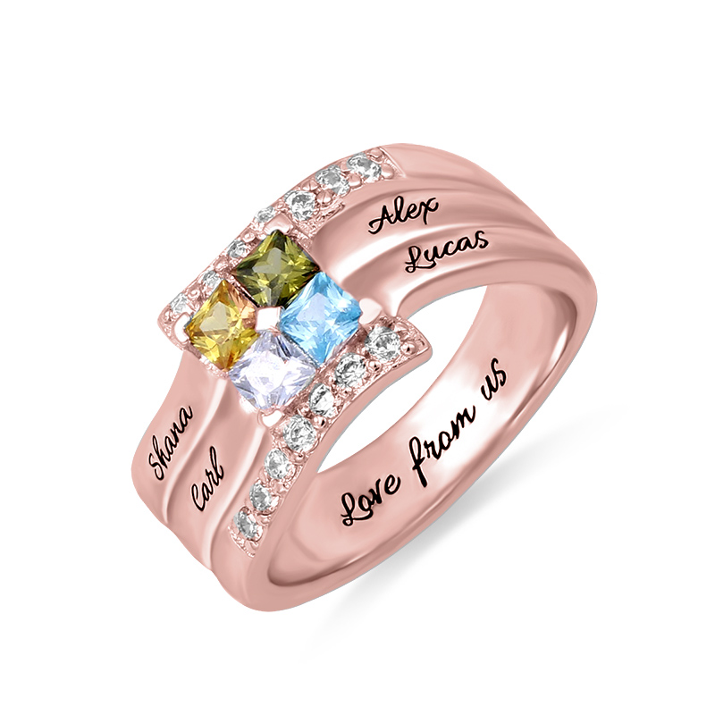 AILIN Customized Sterling Silver Quad Birthstone Ring For Women Engraved Ring For Mom Mother's Day Gift In Rose Gold rose gold color baby feet ring with birthstone engraved mother ring gift for new mom