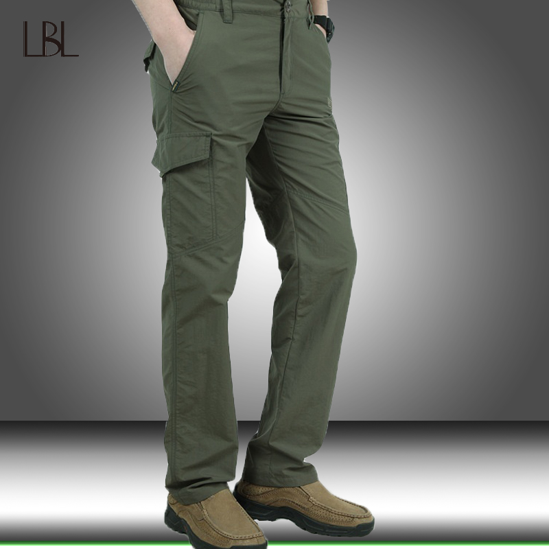 Image 2 - Military Style Tactical Pants Men's Thin Pants Cargo Work Army Breathable Waterproof Quick Dry Men Pants Casual Summer Trousers-in Casual Pants from Men's Clothing