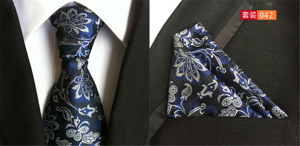 Cityraider New Gray Floral Blue Paisley Print Silk Ties For Men Necktie Slim Necktie Pocket Square With Match Tie 2pcs Set Cr019 Terrific Value Men's Ties & Handkerchiefs