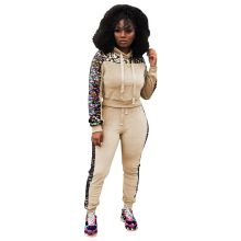Patchwork Sequin Tracksuit Casual Women 2 Piece Set Hooded Sweatshirt Top And Pants Pink Outfits Sweatsuits Two Piece Sets(China)
