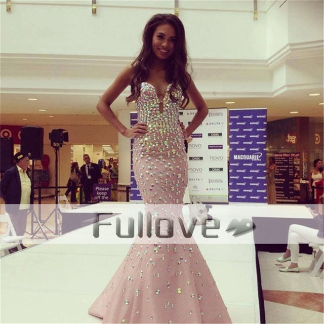 9ab3130fac Glamorous Beaded Colorful Crystal Evening Dress Long 2019 Pink Slit Bust Mermaid  Evening Dresses Party Gowns Vestidos De Fiesta