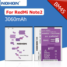 100% NOHON 3060mAh High Capacity New Battery For Xiaomi RedMi Note2 RedRice Note2 HongMi Note 2 BM45 Replacement Batteries