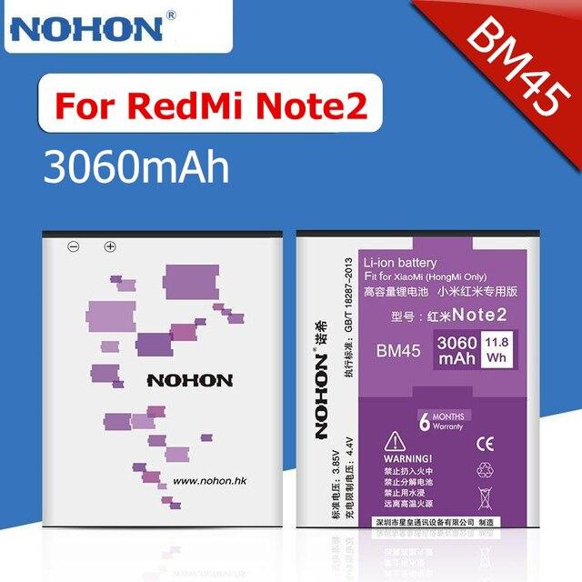 100% NOHON 3060mAh High Capacity New Battery For Xiaomi RedMi Note2 RedRice Note2 HongMi Note 2 BM45 Replacement Batteries