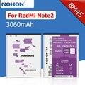 100% nohon 3060 mah alta capacidade de bateria nova para xiaomi redmi note2 note2 redrice hongmi note 2 bm45 baterias de substituição
