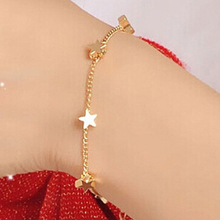 Lowest Price Women's Gold Tone Bracelet Ankle Chain Love Heart Star Bangle Barefoot Anklet 89T2