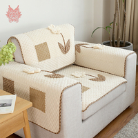 Korean style cotton linen corduroy plaid spliced quilted sofa cover floral applique canape couch chair furniture covers SP5371