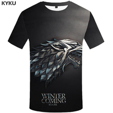 KYKU Game Of Thrones T Shirt Women Black Wolf Film 3d T-shirt Punk Rock Clothes Funny Womens Clothing 2018 Casual Tops