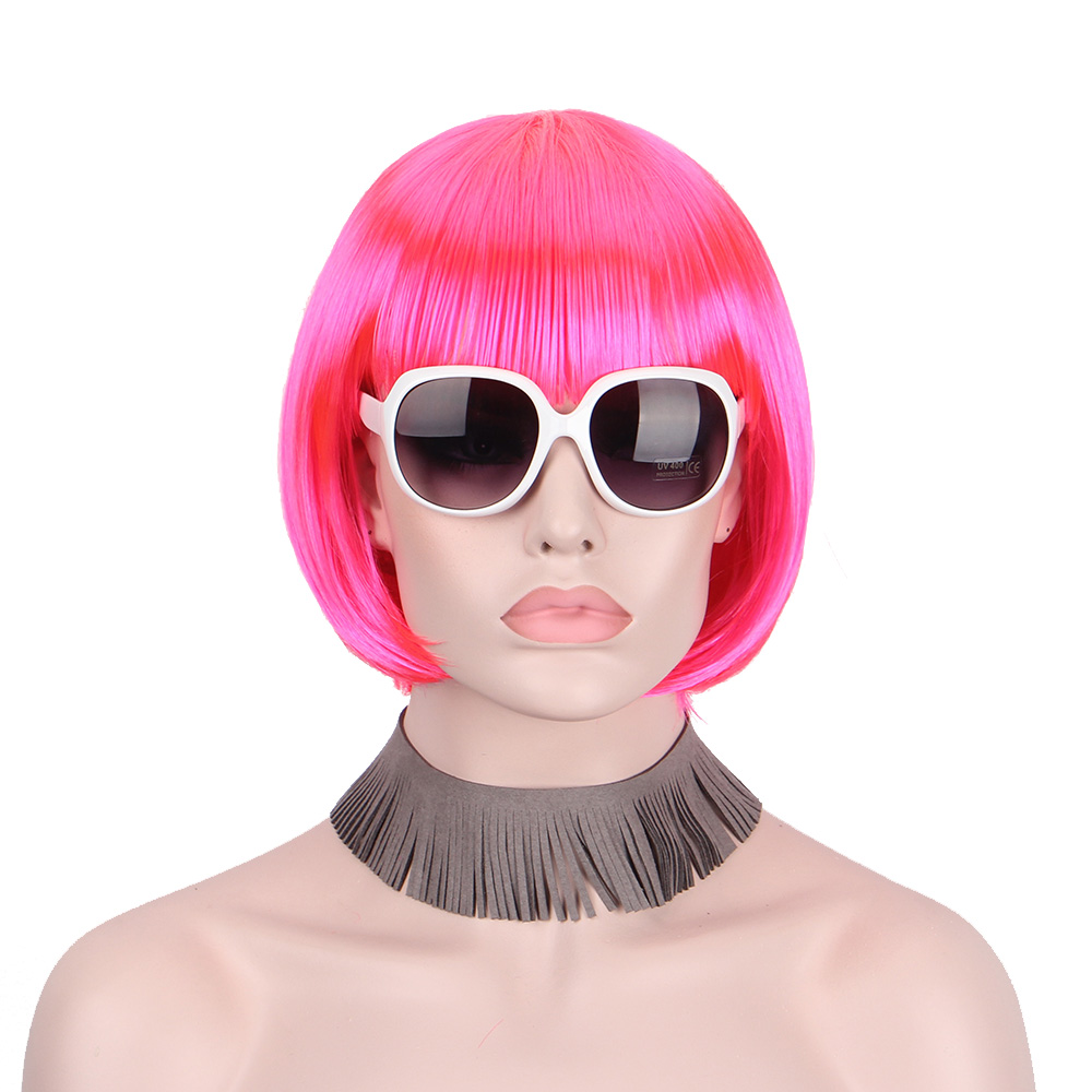 Anxin Short Bob Wig Synthetic Pink Red Wigs for Women With Bangs Bob HairsParty Cosplay  ...