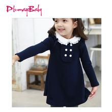 2017 Children Spring Winter Cotton Evening Party Dresses Baby Girls Doll Collar A-line Mini Princess Dress Kids Girl Clothes