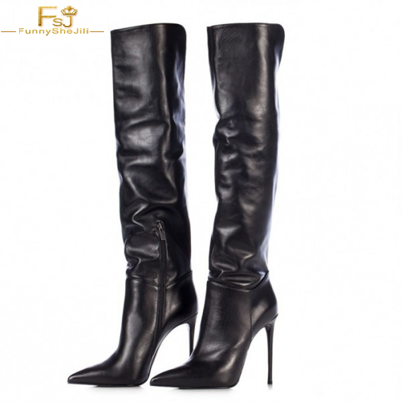 87e3bd5b54a US $107.89 10% OFF Women's Fashion Black Stiletto Boots Sexy Pointy Toe  Knee high Winter Women Boots Sexy Zipper Patent Leather Big Size US 16  FSJ-in ...