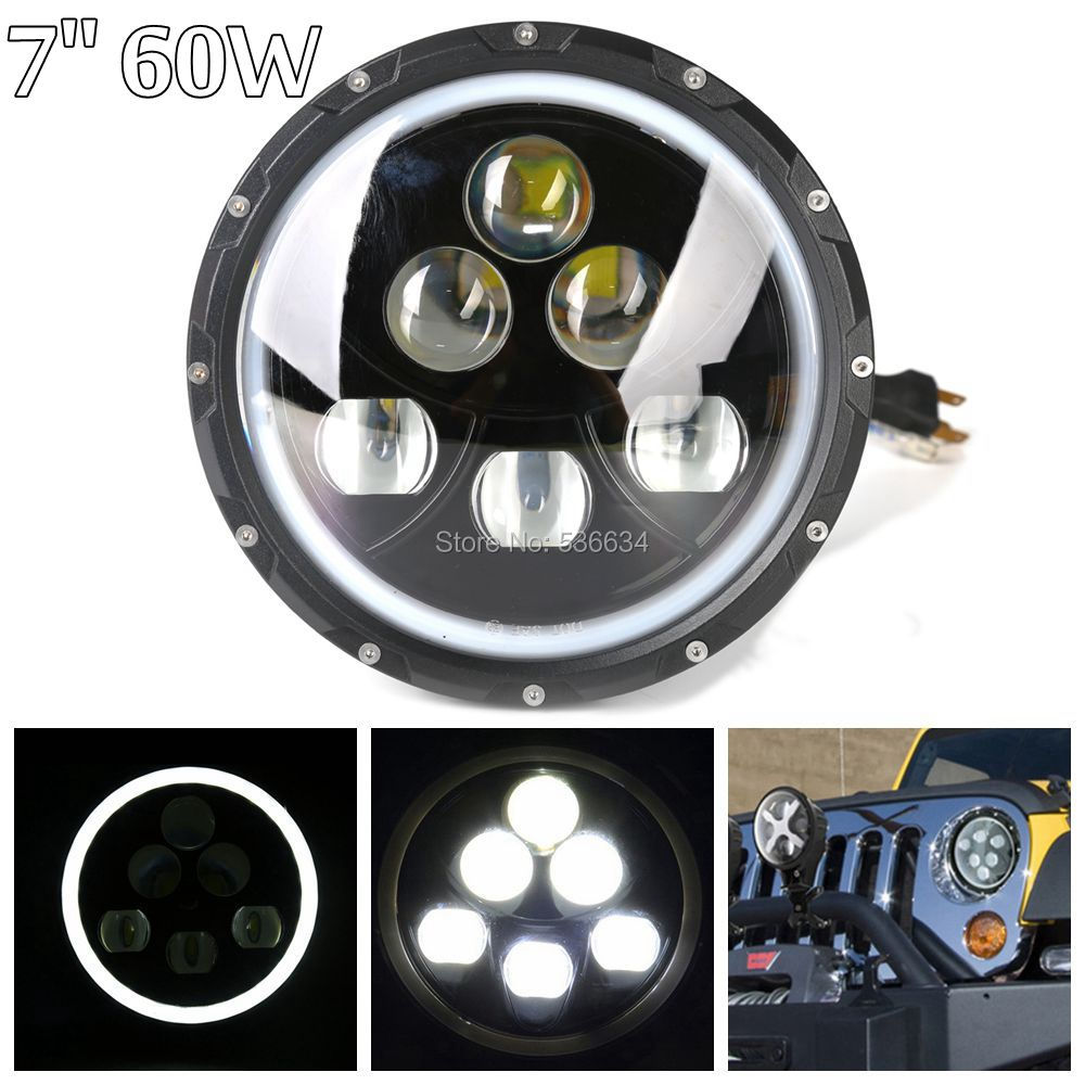 1PCS 60W LED Black 7 Round LED Headlight Daymaker With DRL for JKUR-Jeep Wrangler JK Unlimited Rubicon 2 piece set locking hood look catch hood latches kit for jeep wrangler jk rubicon sahara unlimited 2007 2016