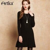 241720b3155709a ARTKA Spring Summer Vintage Black Long Empire Waist O Neck Sweater Dress  LB10175Q