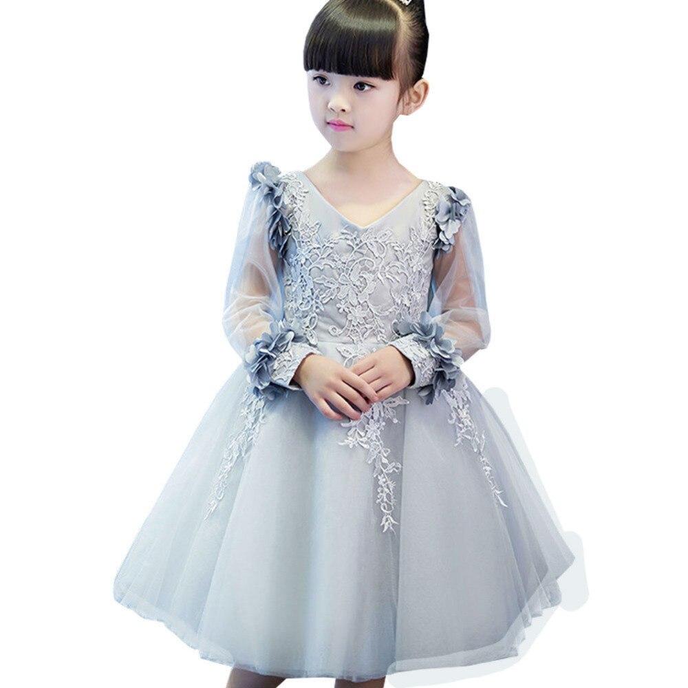 eb21ad8fe Flower Girl Dress Princess Dress Girl Host Piano Costume Autumn And Winter  Long-sleeved Children Wedding Birthday Tutu